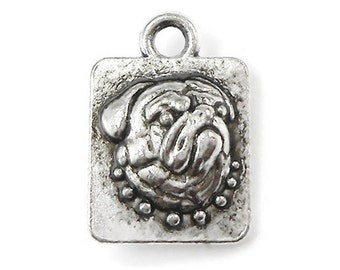 6 Dog Charms silver tone (S291-cnt)