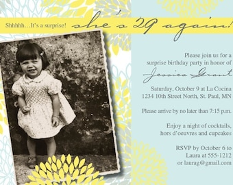NEW ITEM Digital 29. 30, 40, 50 Elegant Birthday Invitation
