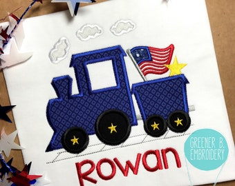 Fourth of July Shirt / 4th of July Train Applique / 4th of July Applique / Boy Red White and Blue Shirt / Train Shirt / First 4th of July