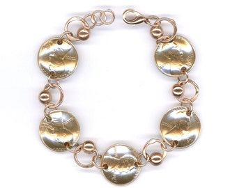 1942 Penny Coin Beaded Bracelet 76th Birthday Gift Jewelry 1942 76th Gift Ideas Women