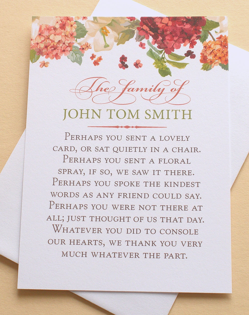 Funeral thank you cards with hydrangeas personalized request a custom order and have something made just for you izmirmasajfo Image collections