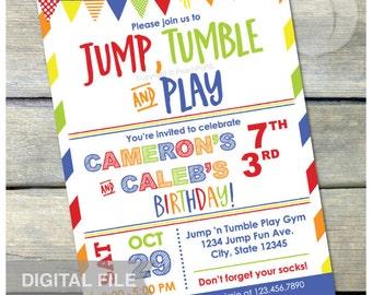 "Gymnastics Birthday Invitation Jump Tumble Play Joint Brother Sister Boys or Girls Blue Party - DIGITAL Printable Invite - 5"" x 7"""