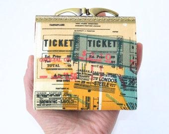 Business Card Holder Womens Credit Card Holder Wallet Gift-ID Holder Ticket Holder Train Ticket Wallet Metal Card Holder Orange Travel