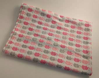 Flannel Receiving Blanket with Pink and Grey Elephants