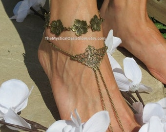Sale Bohemian Barefoot Sandals Foot Jewelry, Boho Jewelry, PAIR, Soldered Chain, Footwear, Sandals, Barefoot jewelry, Chain toe ring anklet