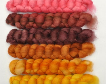 Hand painted roving -  Blue Faced Leicester (BFL) wool spinning fiber - 6.2 ounces - Pounding Out