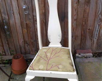 2 solid oak Queen Anne handpainted chairs