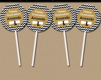 Black and Gold Graduation Cupcake Toppers - DIY Graduation Party Printables - High School Graduation Party Decorations Instant Download G3