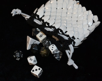 Dice Bag in knitted scalemail Dragonhide Armor Polar Bear