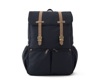 Diaper Backpack, Backpack, Diaper Bag, School backpack, Mom & Dad Diaper backpack, Travel Backpack, College Backpack, BLACK NYLON / CARRYALL