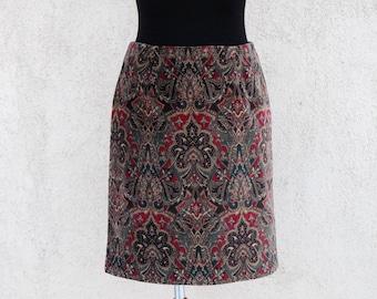 Vintage Velveteen Talbots Skirt Pencil Skirt Paisley Mini Skirt High Waisted Tribal Print Skirt Made in USA Small Size