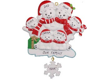 Personalized Polar Bear Family of 6 Christmas Ornament- Personalized Christmas Ornament Family of 6 Polar Bears