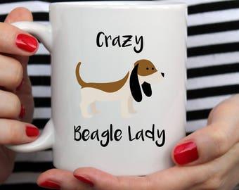 Crazy Beagle Lady Mug | My Heart Belongs To A Beagle | Cute Mug | Beagle Mug | I Love My Beagle Mug | Birthday Beagle Mug | Beagle Gift