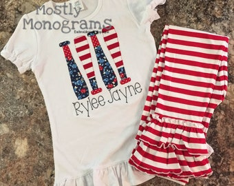 Baseball Softball Girl's Applique Shirt with matching Shorties