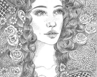 Tarot, E.J.Amaryllis Original Graphite Illustration, The Hieriophant