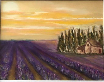 Lavender fields in soft pastels, framed ready to hang 18 by 22 inches