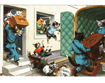 Moving Day Dressed Cats Postcard Alfred Mainzer Anthropomorphic Cats Postcard #4923