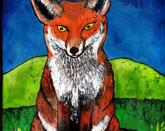 Red Fox in the Dark Blue Night Digital Giclée Wall Art Print