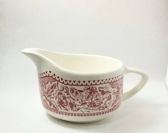 creamer | Memory Lane ironstone creamer | mismatched table  | replacement creamer | red transfer ware