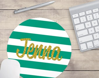 Teal Gold Glitter Mouse Pad, Glitz Mouse Pad, Teal and White Stripes Mouse Pad, Personalized Mouse Pad, Name On Mouse Pad (0083)