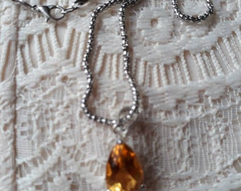 Citrine pear shape pendant