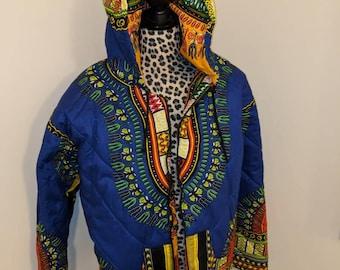 Reversible Dashiki Bomber Jacket With Hood