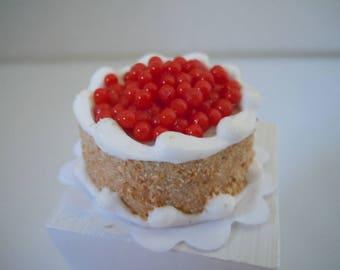 Miniature Cake ~ Cherry Cake ~ Bakery ~ Dessert ~ Baked Goods ~ Food ~ Sweats ~ Kitchen ~ Fairy garden ~ Dollhouse ~ Accessories ~Terrarium