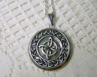 Celtic Knot  Antiqued Silver Locket, Irish Scottish Celtic jewelry, Renaissance Celtic Cross Love Knot, Ireland, Scotland, St Patrick's Day