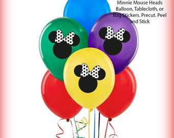 Minnie Mouse Balloon Stickers Precut Decorations Self Adheshive Party Favor Balloon Decals Black and White Heads