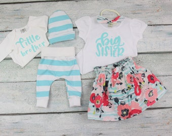 Matching big sister little brother set/ big sister announcement/coming home outfit/baby boy