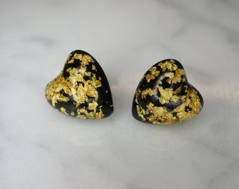 Black and Clear Resin and Gold Leaf Fleck Heart Post Earrings