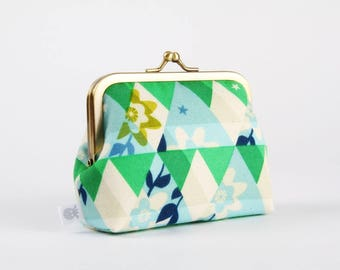 Metal frame change purse - Kaleidoscope green - Deep dad / Japanese fabric / Cotton and Steel / Flutter / Triangles flowers / green blue