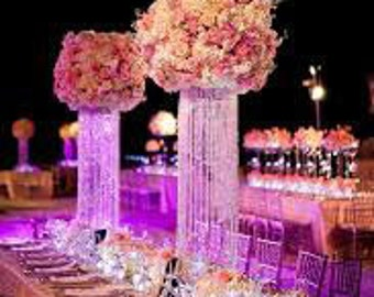 """12"""" Glamorous Column Enchanted Chandelier with Battery LED LIghts Centerpiece Wedding & Special Occasion Centerpiece"""