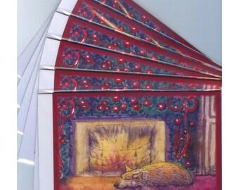 6 x Pembroke Welsh corgi chien de voeux cartes de Noël festifs rêves rêver de paix la veille de Noël cheminée ayant une sieste Susan Alison