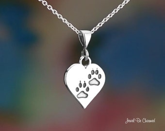 Sterling Silver Heart with Dog or Cat Paws Necklace or Pendant Only