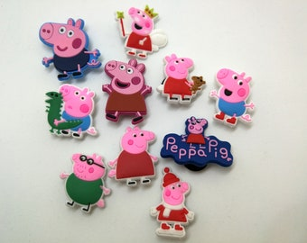 Peppa Pig, Peppa Pig Birthday, Party Favors, Silicone Bracelet Charms, Jibbitz, Children Gift, Present, Cartoon, Summer Vacation