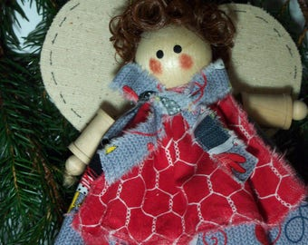 Wooden Spool and Fabric Angel