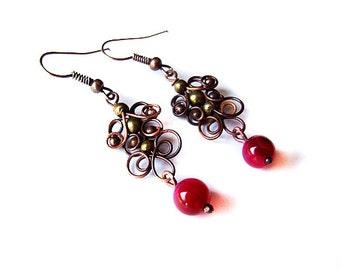 evening earrings tutorial - wire wrapping earrings pattern - jewelry tutorial 32