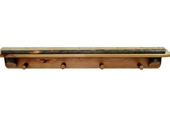 Rustic Hickory 4' Shelf with Coat Hooks