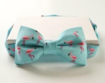 Blue Flamingo Bow Tie - Tropical Bow Tie - Flamingo Bow Tie - Mens Bow Tie