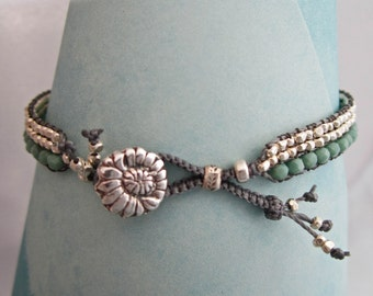 Woven Silver Seed Bead Bracelet, Turquoise Czech Glass and Handcrafted Silver Button,
