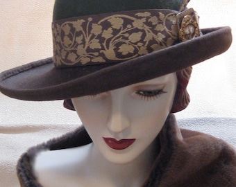 Two Tone Asymmetrical Cloche with Vintage Buckle