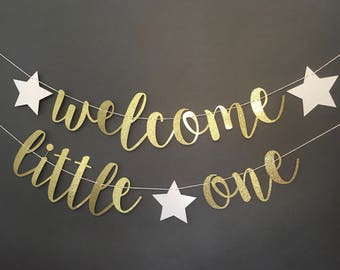 Welcome little one banner, little one decorations, welcome little one sign, welcome baby sign, baby shower banner, baby shower sign