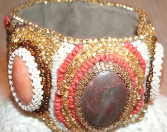Bown Jasper and Peach Quartz Hand Bead Embroidered Beaded Cuff Bracelet