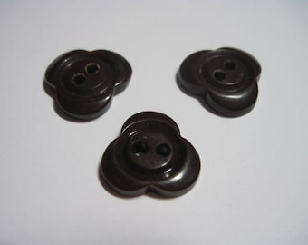 Vintage Set Of 3 Matching Chocolate Brown Bakelite Clover Buttons...#66