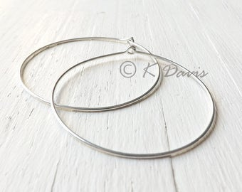 Large Silver Hoops, 2 Inch Sterling Silver Hoop Earrings, Hammered Sterling Silver Hoop Earring womens jewelry gift for her