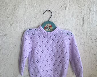 Vintage Baby Girls Lavender Pointelle Sweater Size 2-3T