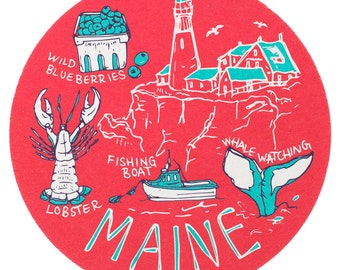 Maine Coaster Set, Maine Coaster, Reusable Coasters, Maine, Tabletop, Party, Food, Travel, New England, Nautical, Lobster, Coastal
