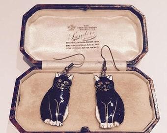 Cat Earrings, Vintage Cat earrings, Cat Jewellery