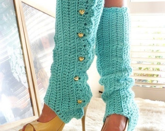 Leg Warmers with Stirrups - Aqua - Lots of Colors